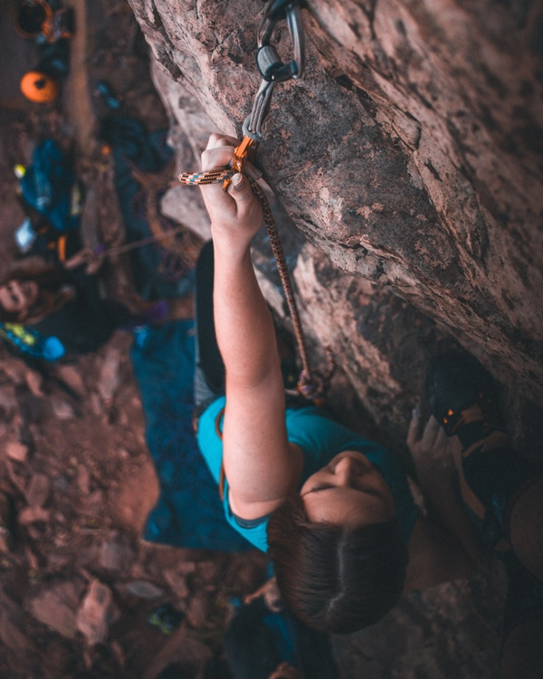 Lead climbing with a partner